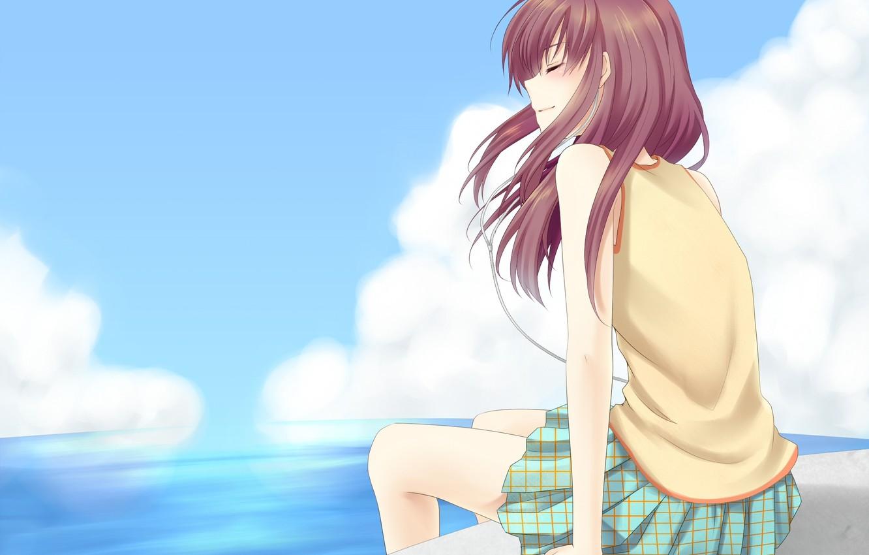 Фото обои небо, девушка, облака, океан, аниме, арт, сидит, закрытые глаза, asausagi