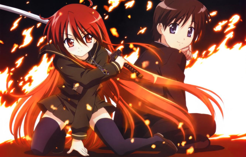 Фото обои девушка, оружие, огонь, катана, аниме, арт, кулон, парень, цепочка, shakugan no shana, shana, сидя, огнеглазая …