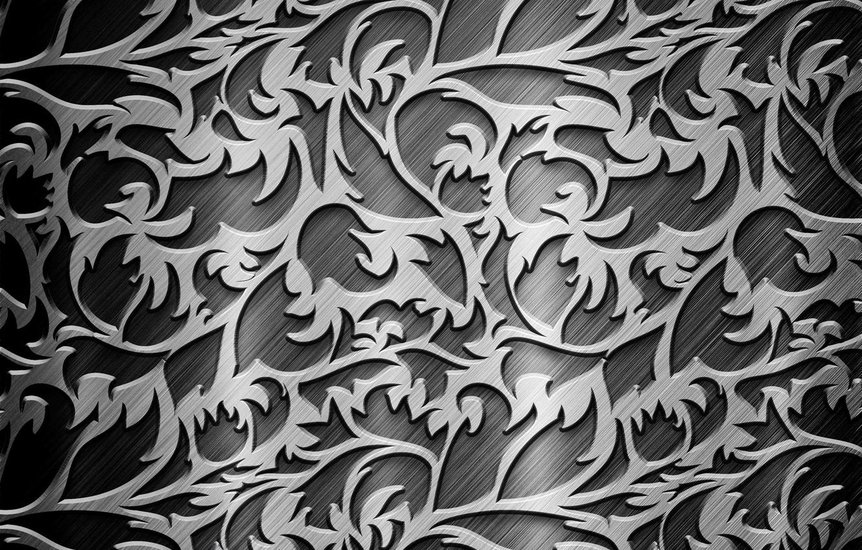 Фото обои металл, серый, узоры, сталь, завитки, текстура, серебристый