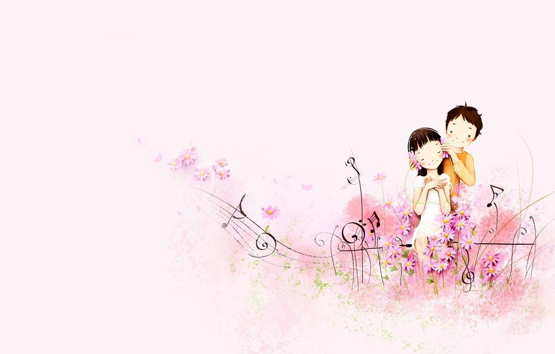 Фото обои любовь, ноты, музыка, настроение, арт, дружба, девочка, парень, двое