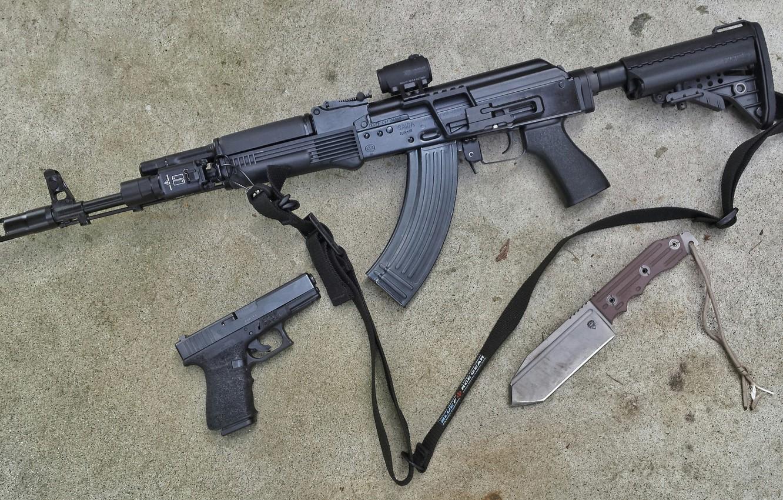 Фото обои пистолет, нож, ружьё, карабин, Сайга, самозарядное