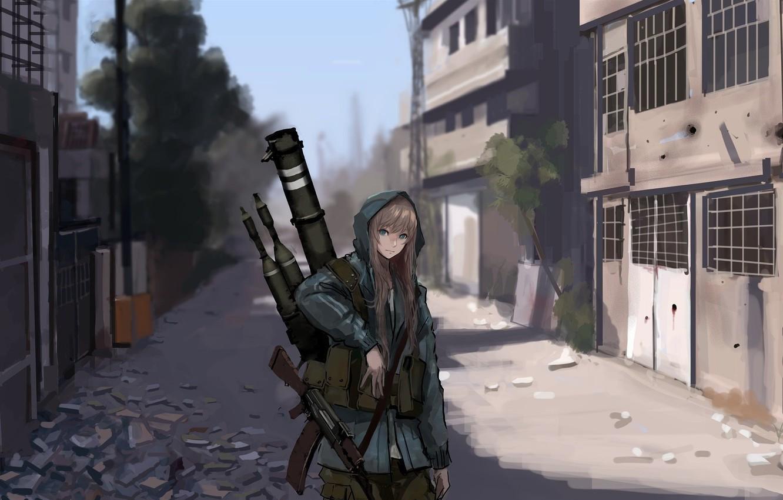 Фото обои city, girl, windows, gun, glass, trees, military, pretty, AK-47, asian, rifle, cute, warrior, pretty girl, …
