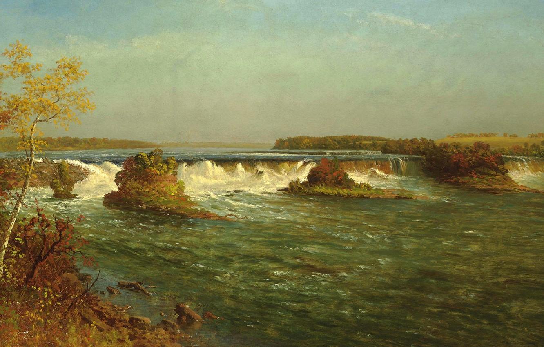 Фото обои пейзаж, картина, Водопады Святого Антония, Альберт Бирштадт