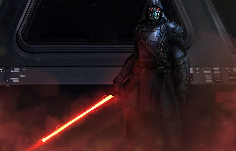 Фото обои star wars, darth vader, fan art, lightsaber, sith