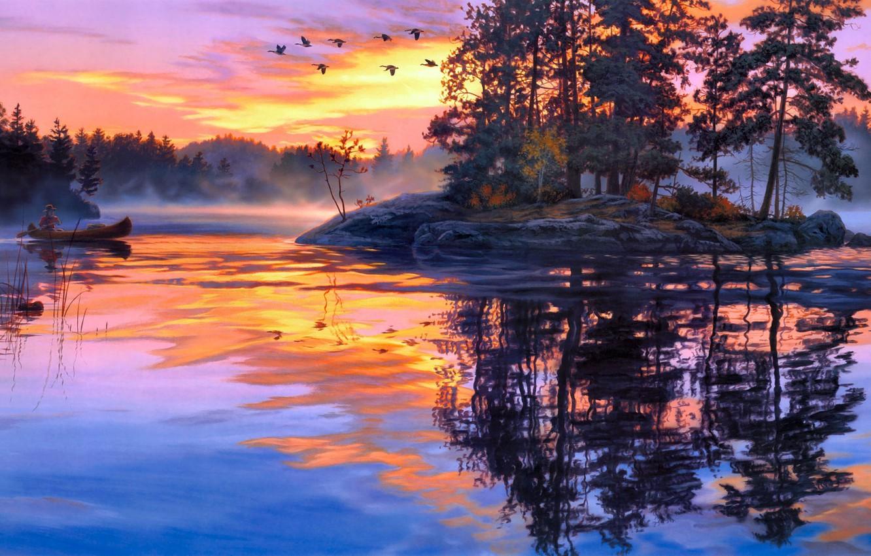 Фото обои лес, туман, озеро, река, рассвет, лодка, остров, утки, утро, живопись, Darrell Bush, Lure of the …