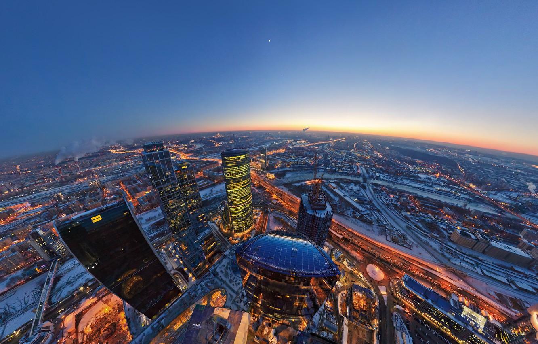Фото обои огни, вечер, Луна, горизонт, Москва, Сити