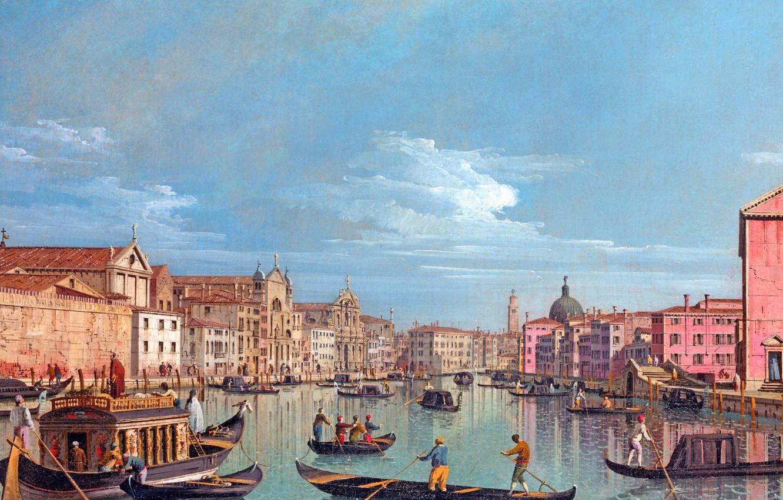 Фото обои небо, вода, люди, здания, картина, лодки, гандолы
