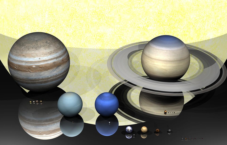 Фото обои солнце, планеты, солнечная система, фигуры