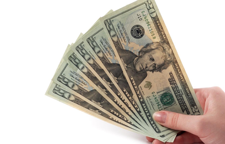 Фото обои рука, деньги, веер, доллары, купюры