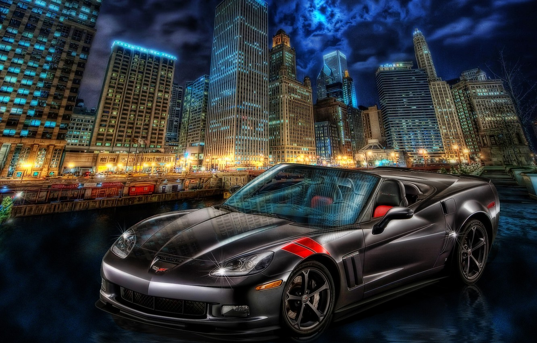 Фото обои город, Corvette, Chevrolet, ночной город, небоскрёбы, Chevrolet Corvette