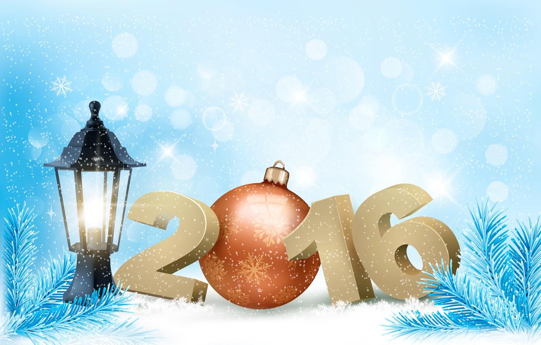 Фото обои снег, праздник, игрушка, елка, фонарь, 2016
