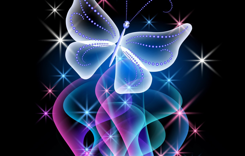 Обои sparkle, butterflies, Abstract, неоновые, Purple, glow. Абстракции foto 15