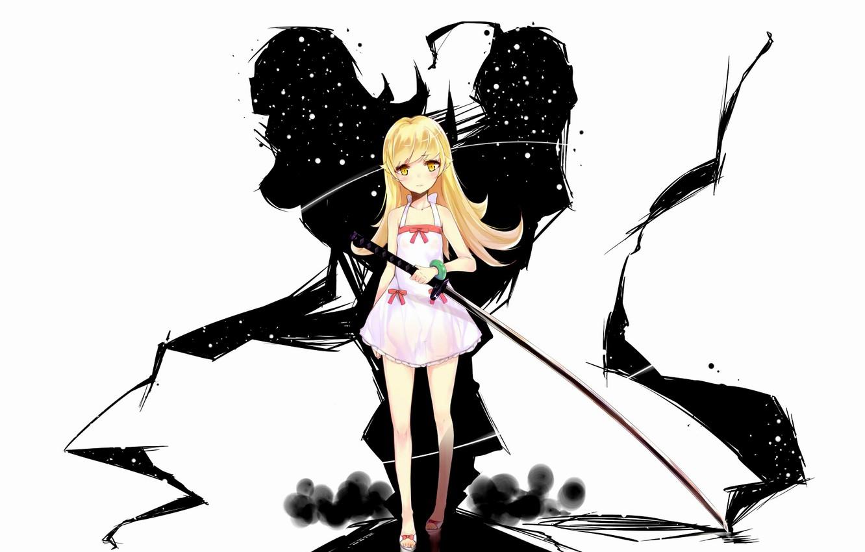 Фото обои оружие, меч, длинные волосы, bakemonogatari, oshino shinobu, желтые глаза, nisemonogatari