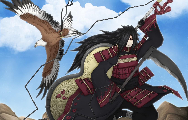Фото обои орел, naruto, art, shinobi, Uchiha Madara, гунбай