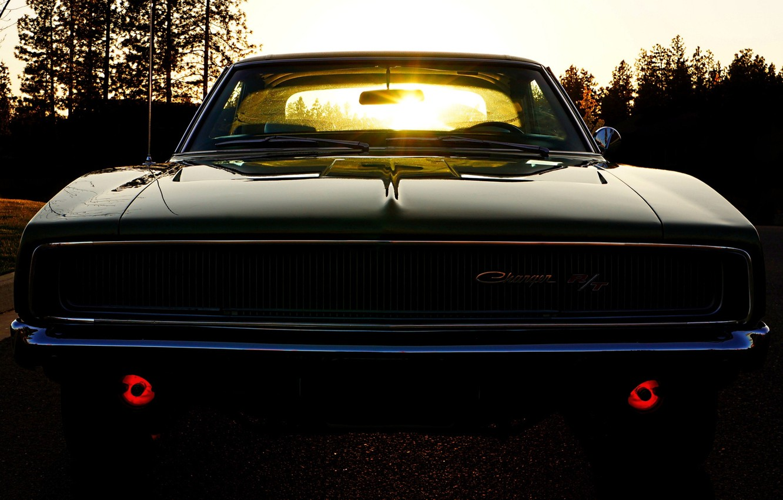 Фото обои небо, солнце, Додж, Dodge, полумрак, Charger, передок, 1968, Muscle car, Мускул кар, Чарджер, R/T
