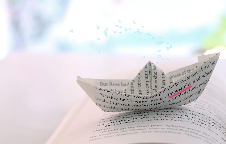 Фото обои стиль, бумага, корабль, книга