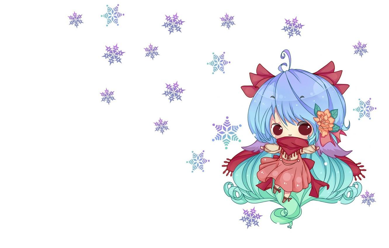 Фото обои снежинки, аниме, арт, девочка, чиби