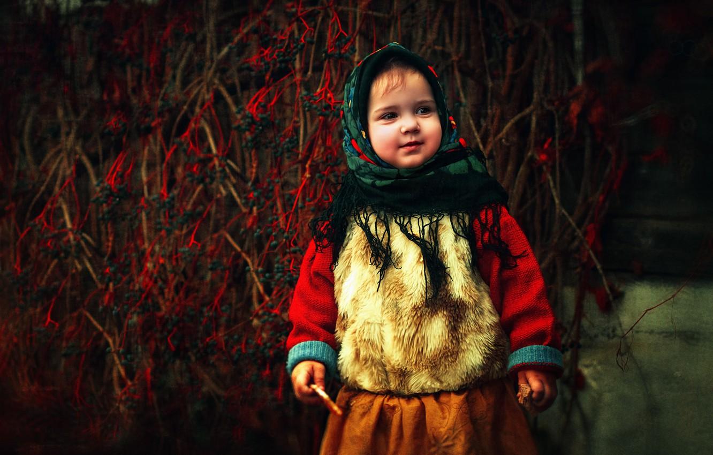 Фото обои осень, ветки, природа, дети, ягоды, девочка, ребёнок