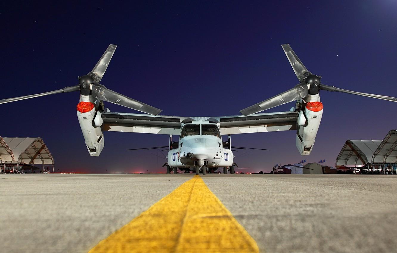 Фото обои ночь, самолёт, аэродром, Bell V-22 Osprey