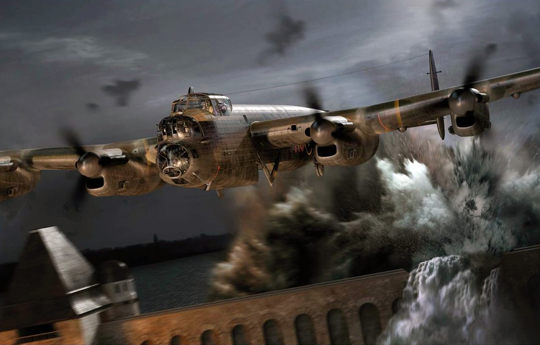 Обои avro lancaster, бомбардировщик, четырёхмоторный. Авиация foto 18