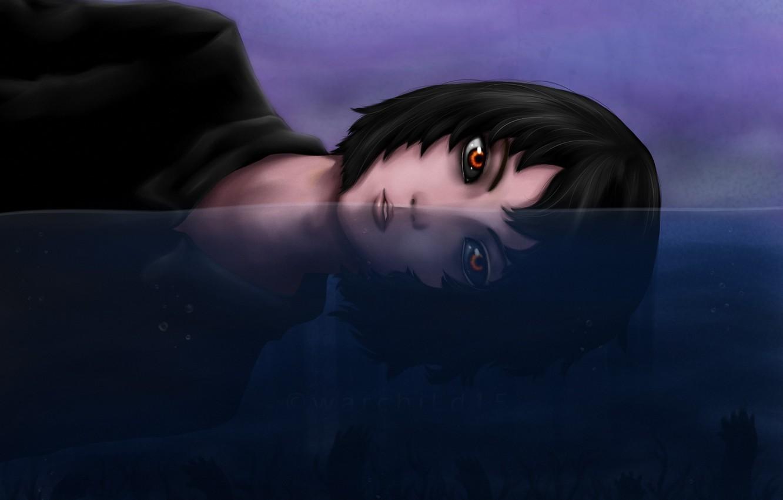 Фото обои лицо, девочка, темная вода
