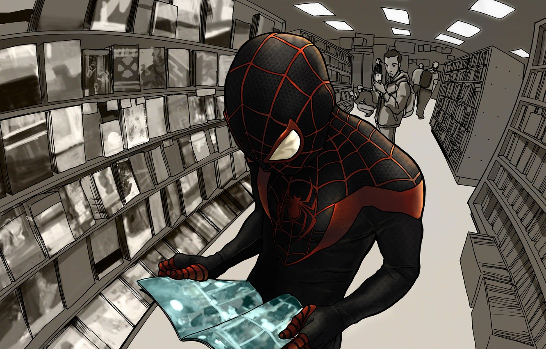 Фото обои костюм, супергерой, Marvel Comics, Spider-Man, Miles Morales, Ultimate Spider-Man