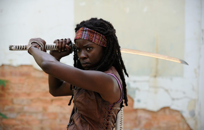 Фото обои ходячие мертвецы, The Walking Dead, Michonne, Danai Gurira, Season 3
