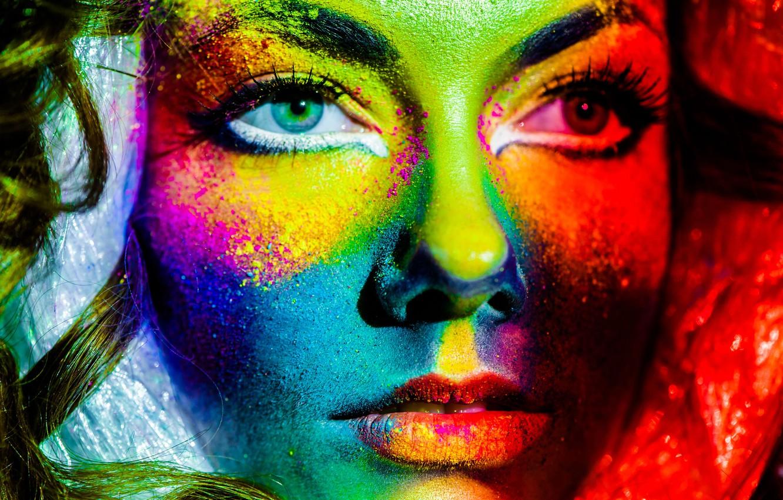Фото обои взгляд, девушка, лицо, ресницы, краски, крупным планом