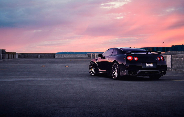 Фото обои GTR, Nissan, Car, Wall, Black, Sunset, Tuning, R35, Rear, AGWheels