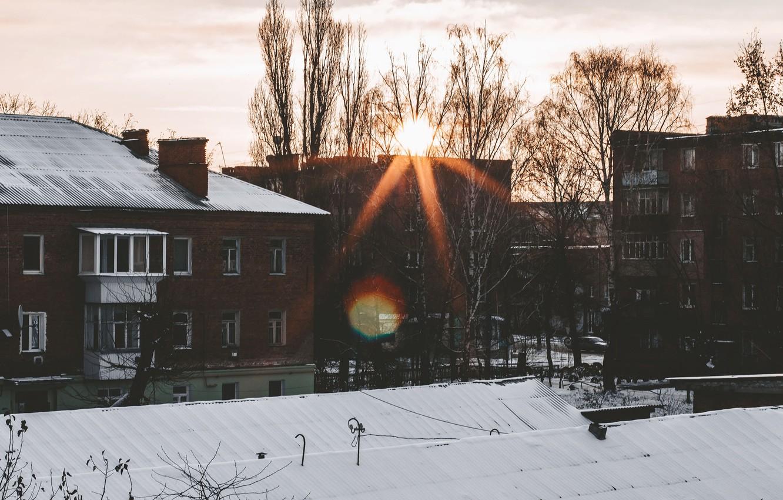 Фото обои солнце, свет, оранжевый, город, рассвет, дома, утро, новый день