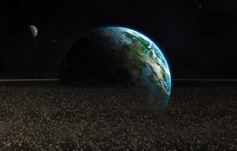 Обои обломки, астероиды, земля. Космос foto 6