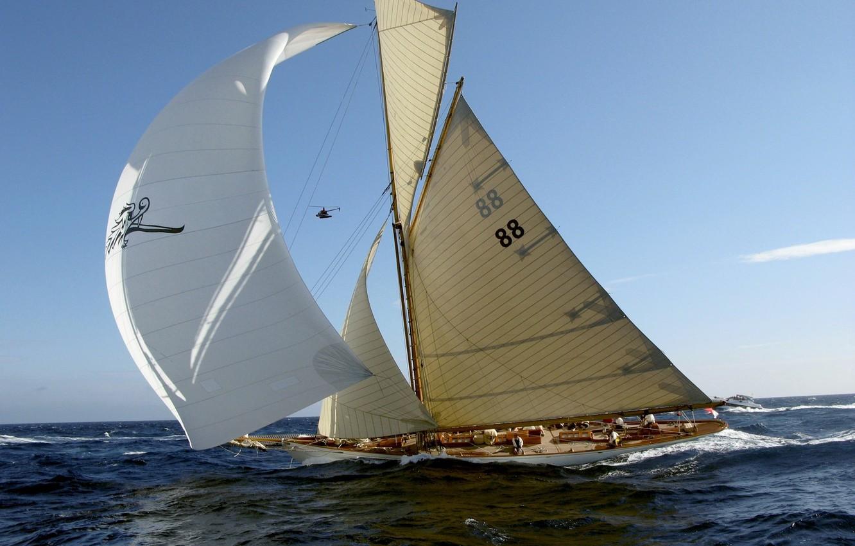 Фото обои ветер, яхта, паруса, волнение, первенство