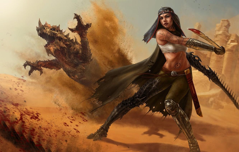 Фото обои песок, девушка, кровь, дракон, меч, тату, арт