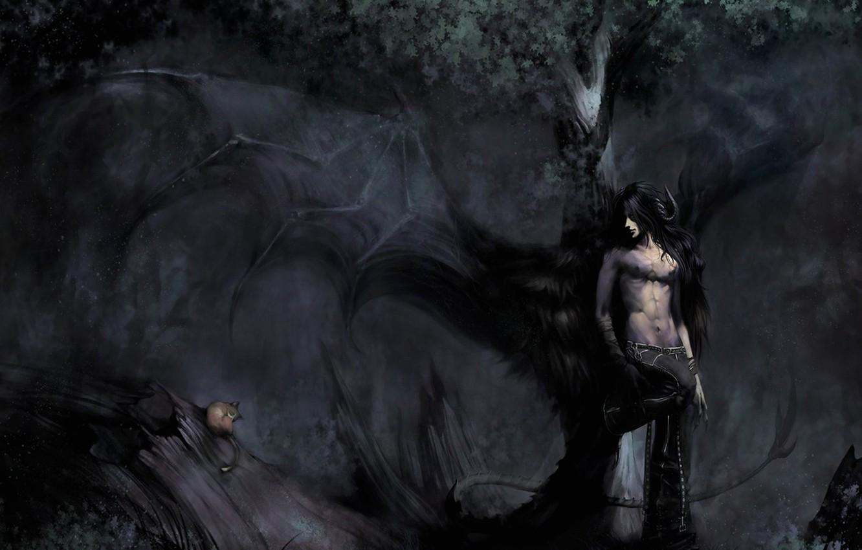 Фото обои лес, кот, тьма, рисунок, крылья, демон, рога, парень