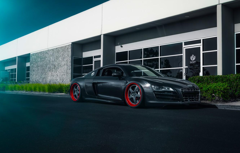 Фото обои Audi, Blue, Front, Road, Supercar, Wheels, Ligth, Stancenation