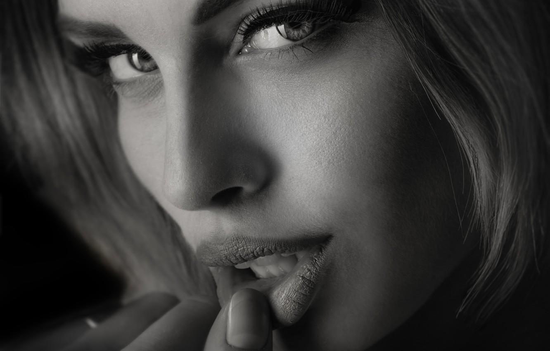 Фото обои глаза, взгляд, девушка, портрет, губы