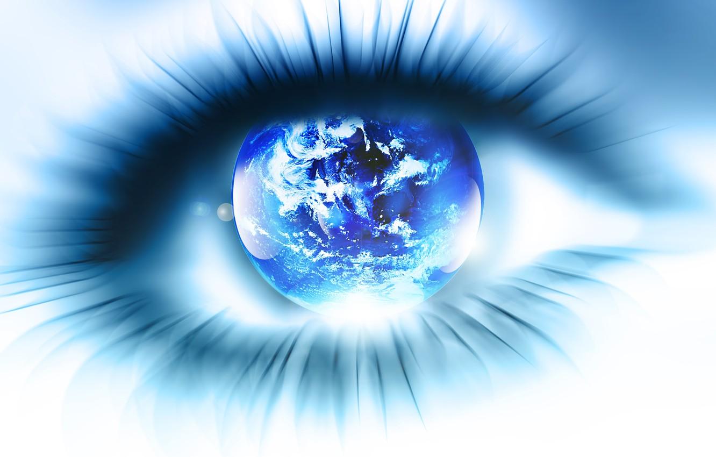 Фото обои глаз, ресницы, планета, зрачок