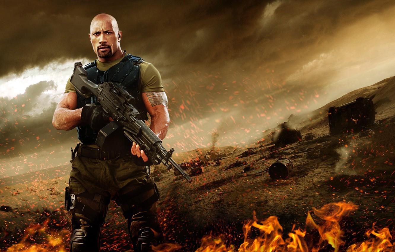 Фото обои cinema, fire, flame, gun, weapon, man, movie, tatoo, The Rock, Dwayne Johnson, film, Roadblock, M249, …