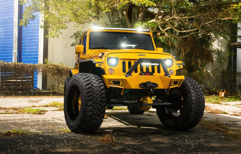 Фото обои Front, Forged, Yellow, Custom, Wrangler, Jeep, Wheels, Track, HydraSports, Amani