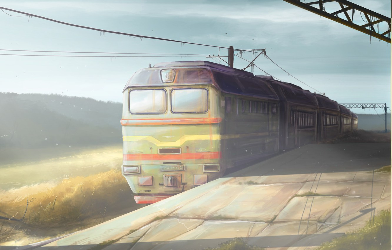 Фото обои вокзал, поезд, утро, арт