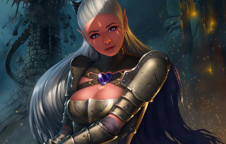 Фото обои взгляд, девушка, фантазия, эльф, красота, воин, арт, доспех, Adalia