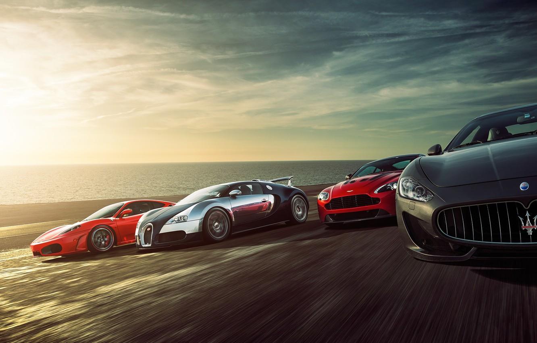 Фото обои Ferrari F430, Bugatti Veyron, Speed, Sunset, Supercars, Sea, Aston Martin Vantage, Maserati Grant Turismo