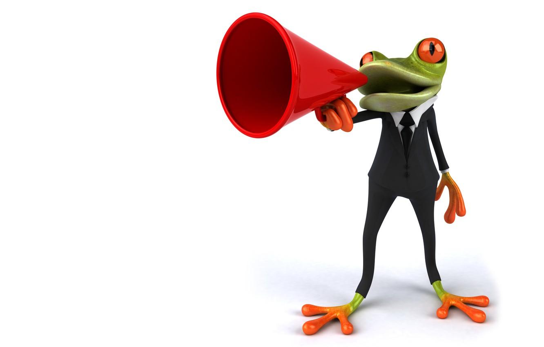 Фото обои графика, лягушка, мегафон, громкоговоритель, Free frog 3d