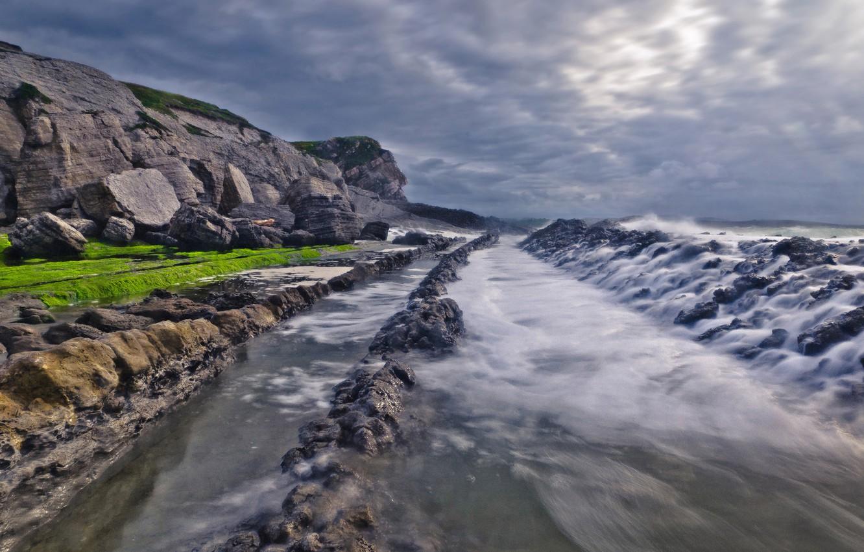 Обои скалы, дома, волны, посёлок. Города foto 11