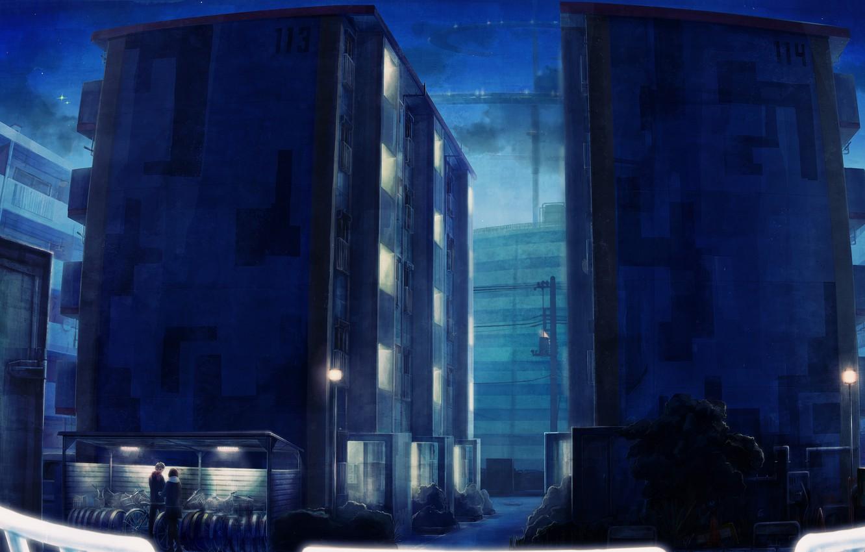 Фото обои небо, девушка, звезды, ночь, велосипед, город, огни, дерево, дома, аниме, арт, парень, +15