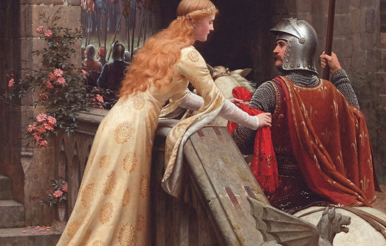 Фото обои девушка, замок, картина, прощание, girl, рыцарь, дева, Middle Ages, picture, maiden, knight, white horse, romanticism, …