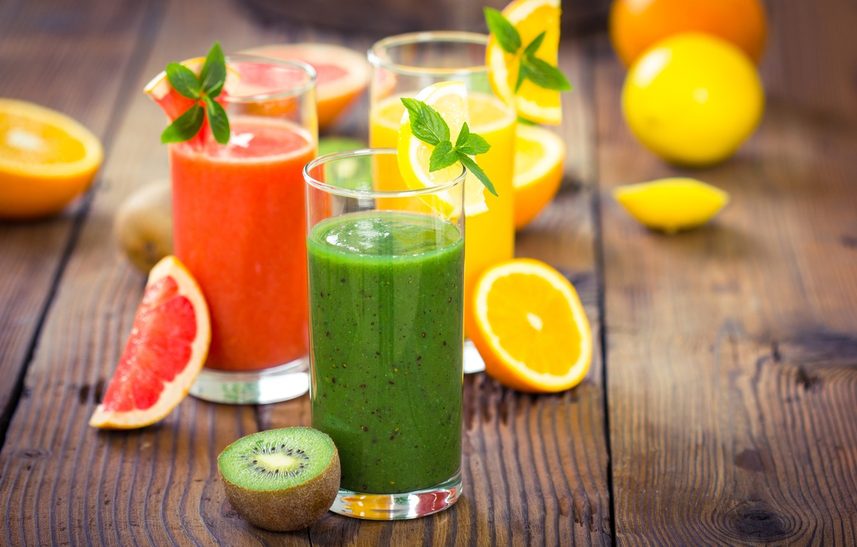 Фото обои апельсин, киви, сок, стаканы, напитки, мята, грейпфрут, фреш