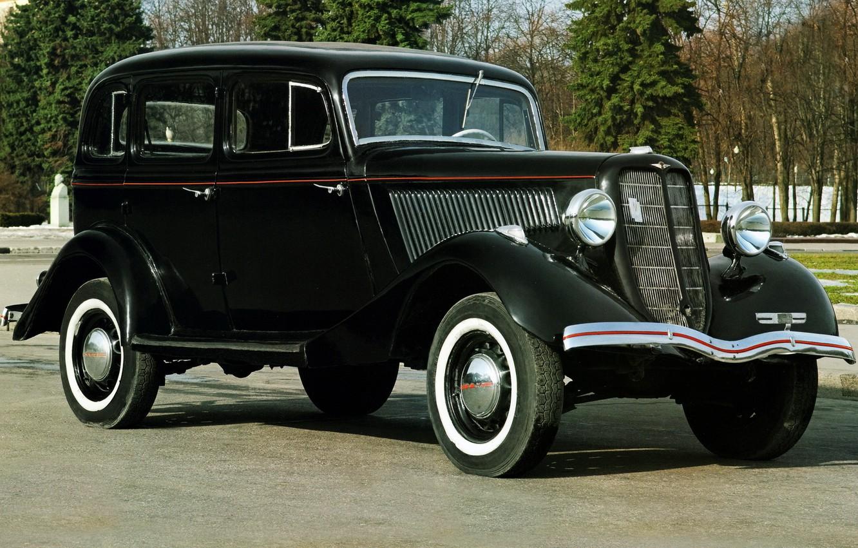 Фото обои ретро, черный, автомобиль, седан, советский, эмка, воронок, GAZ M 1, ГАЗ М 1, молотовец
