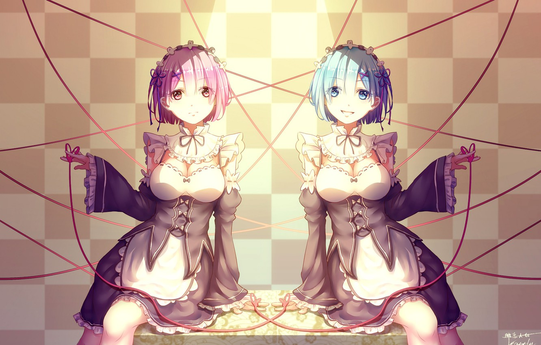 Фото обои девушки, лента, демоны, anime, art, сёстры, Ram, горничные, Rem, Re: Zero kara Hajimeru Isekai Seikatsu