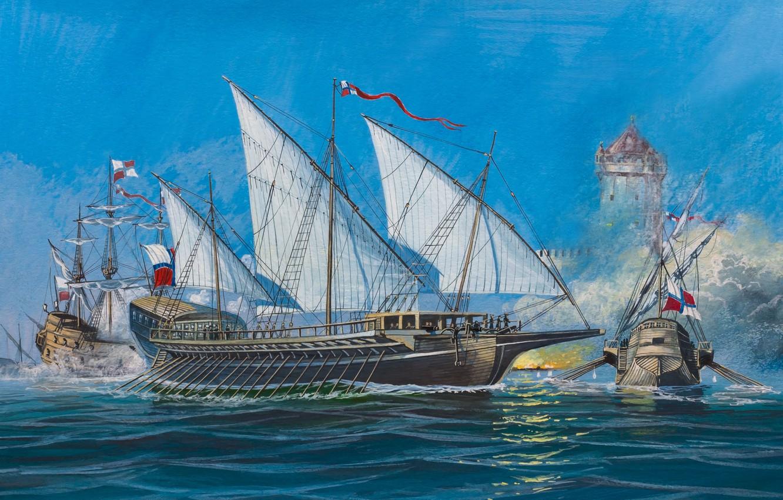Фото обои масло, взрывы, корабли, всплески, бой, воды, арт, акварель, флот, морской, painting, залпы, моря, осада, позиции, …
